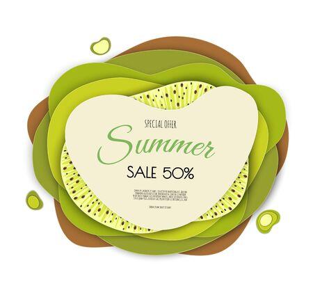 Summer sale banner design with paper cut kiwi top view background. Vector illustration. Ilustração