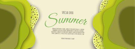 Summer sale banner design with paper cut kiwi top view background. Vector illustration Ilustração