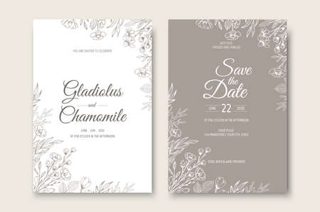 Wedding invitation card template design. Template, Frame with Flowers, Branches, Plants.