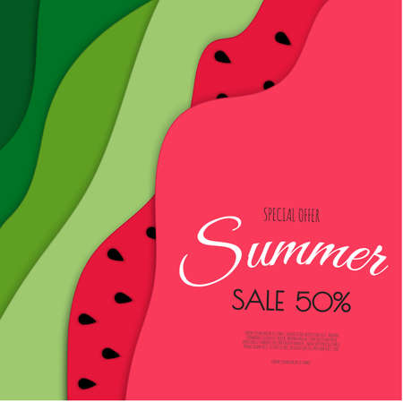 Summer sale banner design with paper cut watermelon. Vector illustration.