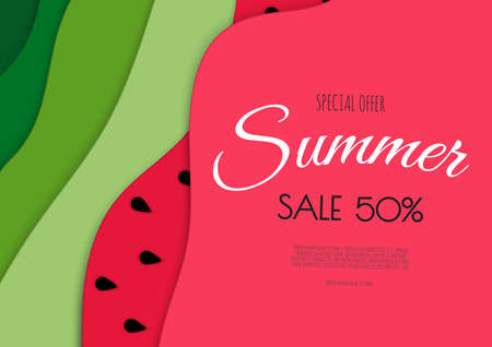 Summer sale banner design with paper cut watermelon top view background. Vector illustration