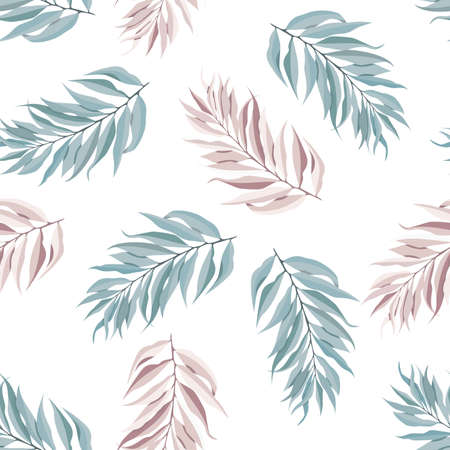 Abstract seamless pattern with tropical leaves. Vector template. Illustration
