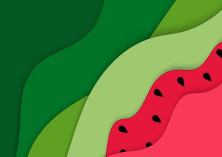 Summer background with watermelon . Summer concept. Vector illustration Stock Illustratie