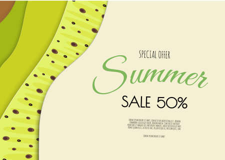 Summer sale banner design with paper cut kiwi top view background. Vector illustration Stock Illustratie