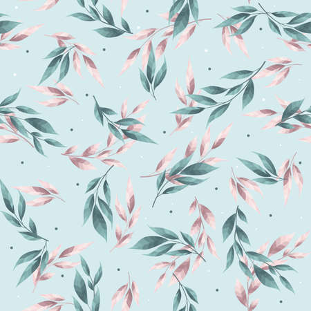 Abstract seamless pattern with leaves. Vector template.