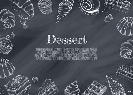 Desserts bakery shop vector banner template. Hand drawn cakes bun, ice cream, chocolate and candies. Ilustracja