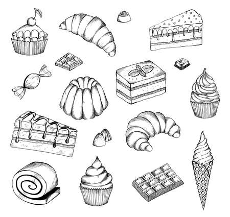 Hand drawn desserts vector set. Desserts bakery shop vector banner template. Hand drawn cakes bun, ice cream, chocolate and candies.