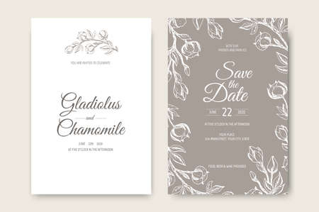 Vector wedding invitations set with cotton flowers. Romantic tender floral design for wedding invitation, save the date and thank you cards. Illustration