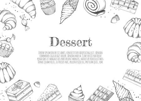 Sketch dessert. Cake, pastry and ice cream, muffin in vintage style. Hand drawn desserts vector set.