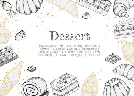 Desserts bakery shop vector banner template. Hand drawn cakes bun, ice cream, chocolate and candies. Illustration