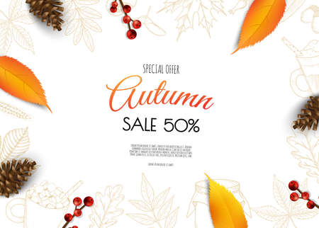Autumn sale background with leaves Autumn sale background with leaves. Illustration