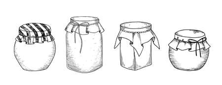 Jars. Set of hand drawn graphic illustrations in sketch style Illustration