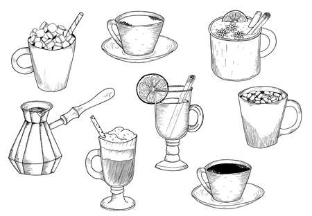 Different types of coffee. Coffee menu. Set of vector illustrations. Illustration