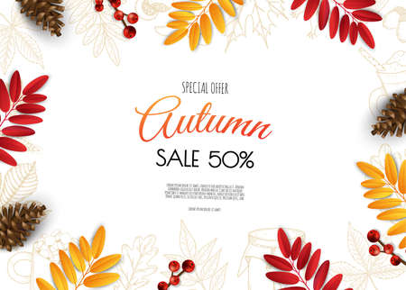 Autumn background with flat leaves design. For cards, invitations