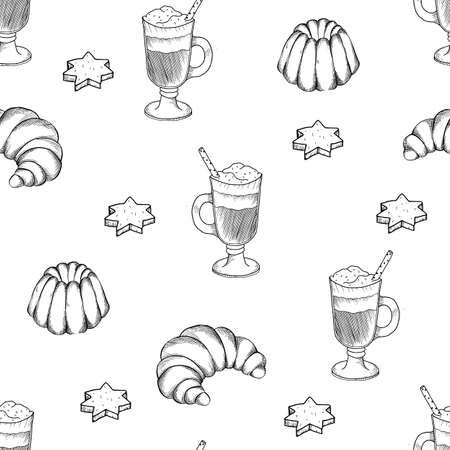 Hand drawn seamless pattern with desserts. Coffee, cocoa, biscuits, cupcake, biscuit cookies.