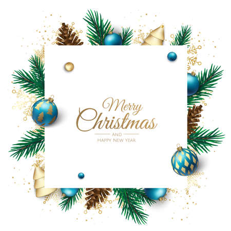 Merry Christmas and Happy New Year Holiday white banner illustration. Xmas design with realistic vector 3d objects, christmas tree, golden christmass ball, snowflake, glitter gold confetti