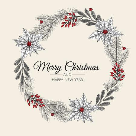 Hand drawn Christmas wreath. Vector holiday illustration.