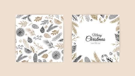 Christmas frame with winter plants. Botanical illustration.