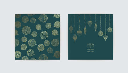 Vector Christmas Cards Set. Holiday Party Card Templates Design