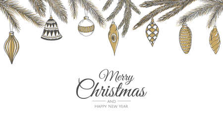 Merry Christmas web banner. Background for invitation or seasons greeting. Illustration