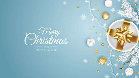 Merry Christmas and Happy New Year. Xmas background with present, snowflakes, star and balls design.