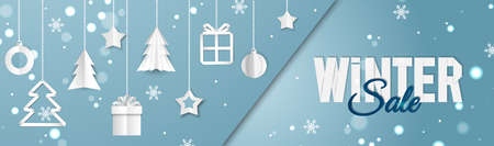 Christmas banner. Background Xmas objects viewed from above. Winter sale