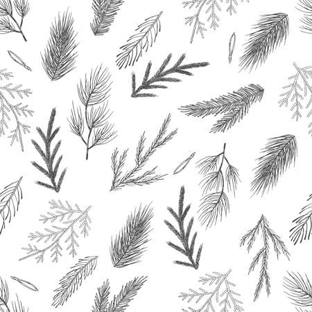 Seamless pattern with hand drawn cones,xmas tree. Christmas vector illustration.