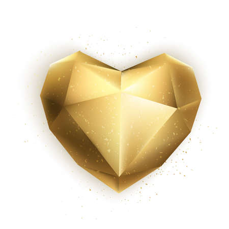Gold vector heart.. 3d design elements for Valentines holidays, wedding, birthday party. Isolated vector.