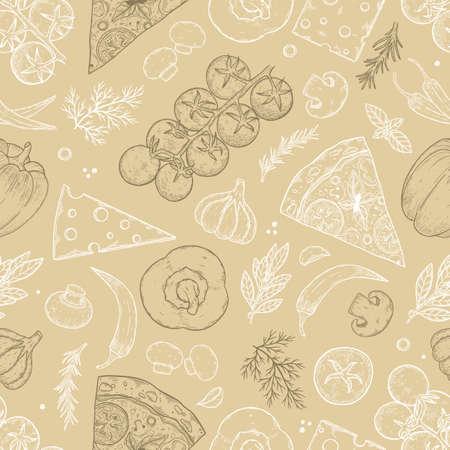 Seamless pattern. Pizza ingredients background. Tomato, garlic, basil, olive, pepper, mushroom Векторная Иллюстрация