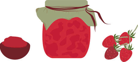 Glass jars from strawberry. bowl of strawberry jam Vecteurs