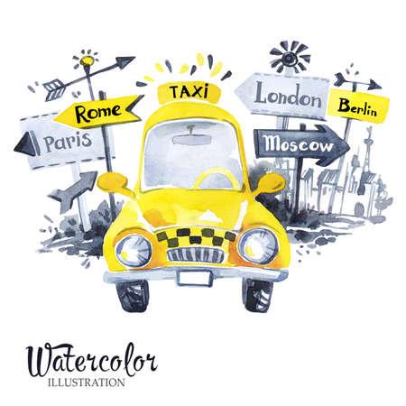 Handgeschilderde taxi auto met stad banners. Retro gele auto. Vakantie. Aquarel vintage illustratie. Rond de wereld reizen. Vervoer.