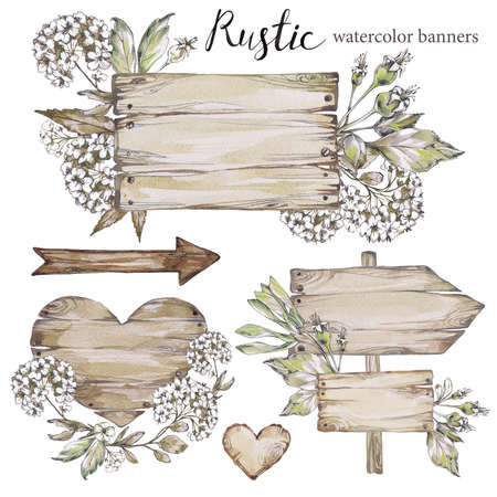 Handpainted Collection Watercolor Wood Planks Clipart Pointer