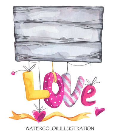 amore: Lovely hand drawn illustration. Watercolor Valentines Day card. Wooden plank with textile hearts garland and ribbon. Rustic wedding decor. Perfect for invitation, t-shirt, print design.