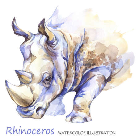 Watercolor rhinoceros on the white background. African animal. Wildlife art illustration. Can be printed on T-shirts, bags, posters, invitations, cards, phone cases, pillows. Place for your text.