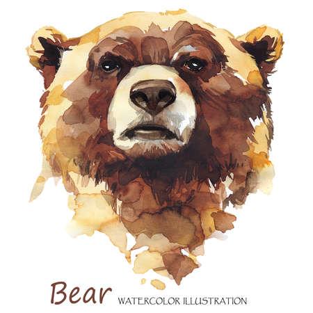 Urso em aquarela sobre fundo branco. Animal da floresta. Ilustração da arte de vida selvagem. Pode ser impresso em camisetas, bolsas, pôsteres, convites, cartões, capas de telefone, travesseiros. Lugar para o seu texto. Foto de archivo - 80377175