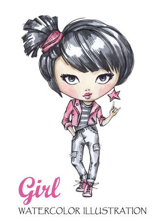 Hand drawn illustration. Watercolor modern rock girl. Can be printed on T-shirts, bags, posters, invitations, cards, phone cases, pillows. Place for your text.