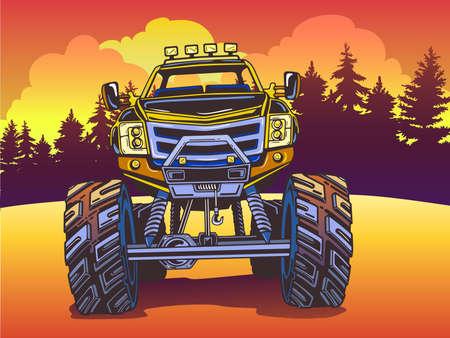 Cartoon Monster Truck op het avondlandschap in Pop-Artstijl. Extreme sporten. Avontuur, reizen, in openlucht kunstsymbolen. Retro vectorillustratie. Voertuig SUV off-road. Voor posters, uitnodigingen.