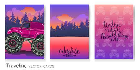 벡터 예술 다채로운 카드의 집합입니다. Cartoon Monster 트럭, 저녁 풍경, 패턴 및서도. 익스트림 스포츠. 모험, 여행, 야외 예술 기호입니다. 포스터, 초대 일러스트