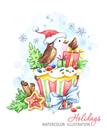 Watercolor bird with cake and New Years gifts. Fairytaile New Years illustration. Chrismas story. Sweet dessert. Can be use in winter holidays design, invitations, cards.