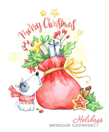 Winter holidays illustration. Watercolor little puppy looks at a bag with gifts. Christmas, New Year symbol. Can be printed on T-shirts, bags, posters, invitations, cards, phone cases, pillows. Stock Photo
