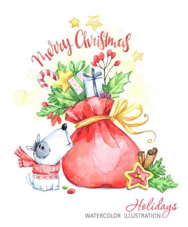 Winter vakantie illustratie. Aquarel kleine puppy kijkt naar een tas met geschenken. Kerstmis, Nieuwjaarsymbool. Kan worden afgedrukt op T-shirts, tassen, posters, uitnodigingen, kaarten, telefoonhoesjes, kussens. Stockfoto