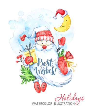 Winter holidays illustration. Watercolor Santa Claus with gifts waved his hand. A young month in a hat. Christmas, New Year symbol. Can be printed on T-shirts, bags, posters, invitations, cards.