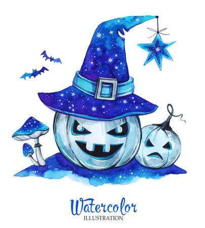 nighttime: Watercolor vintage illustration. Hand painted lantern halloween pumpkins with magic hat and amanitas. Scary monsters. Horror. Ready for print, poster, fashion design, greeting card. Stock Photo