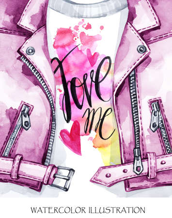 Watercolor illustration. Valentines Day Card. Hand painted leather jacket with lovely words. Style girl. Ready for print, poster, fashion design, greeting card. Stock Photo