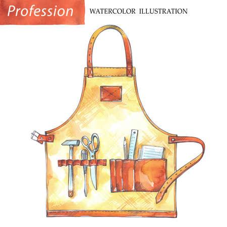 손으로 목수 도구와 가죽 앞치마를 그렸습니다. 직업, 취미, 공예 그림입니다. 수채화 나무 작품. 남자들의 일. 스톡 콘텐츠