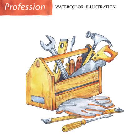 손으로 목수 도구와 나무 상자를 그렸다. 직업, 취미, 공예 그림입니다. 수채화 나무 작품. Mens가 일합니다.