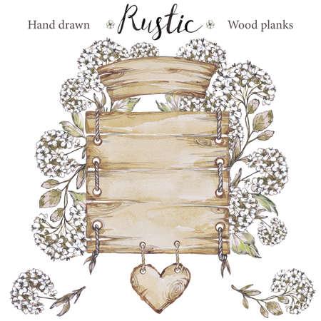 手染めコレクション水彩木板アート。木製のポインター、ボード、木の心。素朴なイラスト。ブログ、レタリング、パターン、植物園の招待状に最