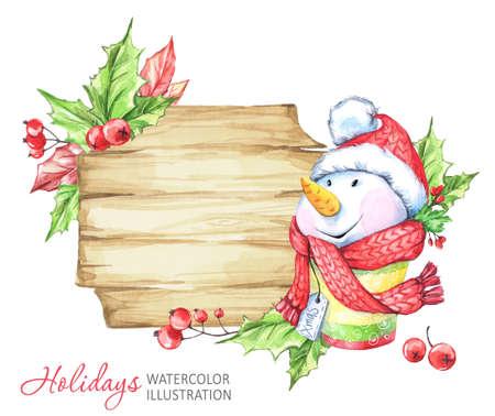 Illustrazione di vacanze invernali Cornice in legno acquerello con pupazzo di neve. Natale, simbolo di Capodanno.