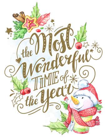 Wenskaart van handgetekende letters, aquarel sneeuwpop en vakantie decoraties. Kersttekst voor uitnodiging en wenskaart, prenten en affiches. Kalligrafisch winterontwerp.