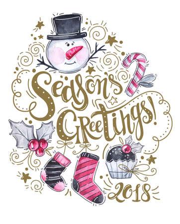Hand geschetst seizoenen groeten logo, aquarel sneeuwpop, sokken, cake en feestdagen decoraties. Hand getrokken belettering van seizoenen groeten voor Christmas New Year wenskaart. Stockfoto